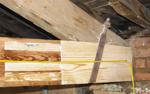 Timber Resin Splice in Southern Yellow Pine. Note timber flush nshutters.