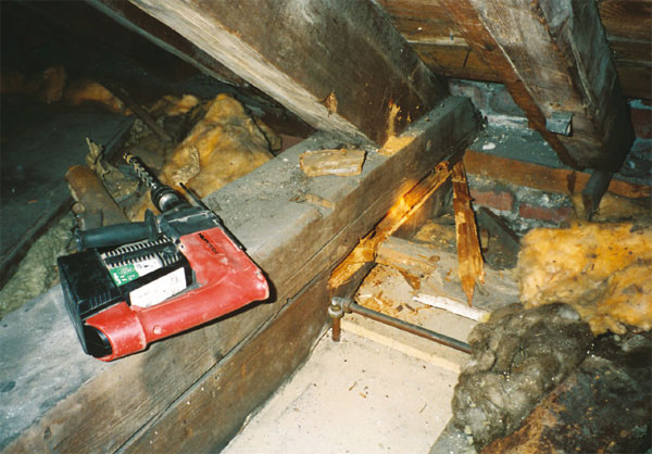 Drilling a large Tie Beam to check for the extent of rot
